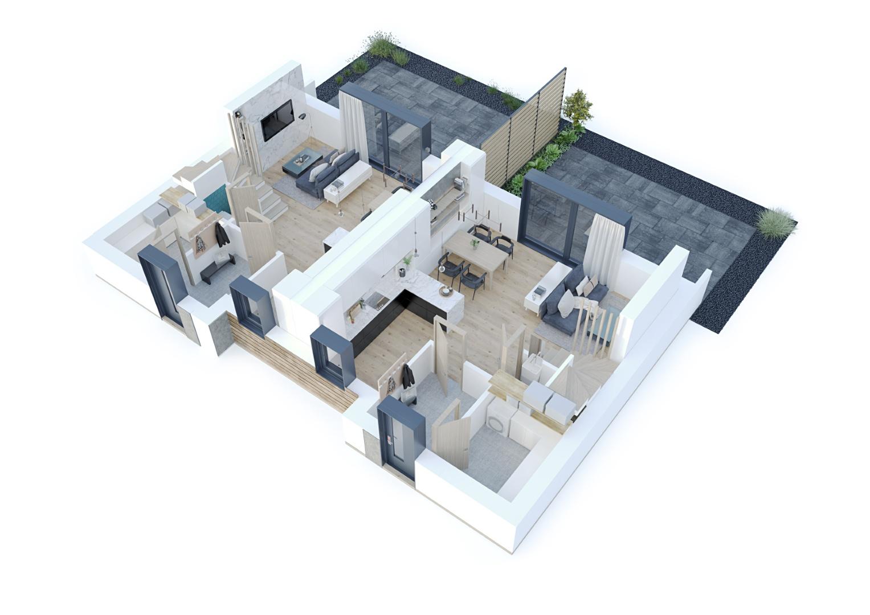 wizualizacja domu bez zadaszenie